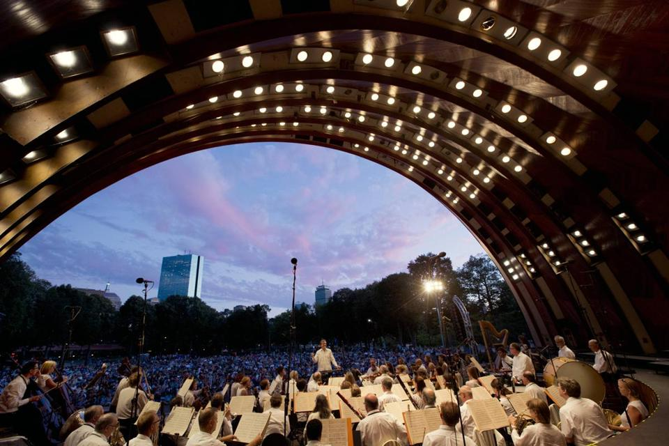 The Boston Landmarks Orchestra performs at the Hatch Shell throughout the summer.